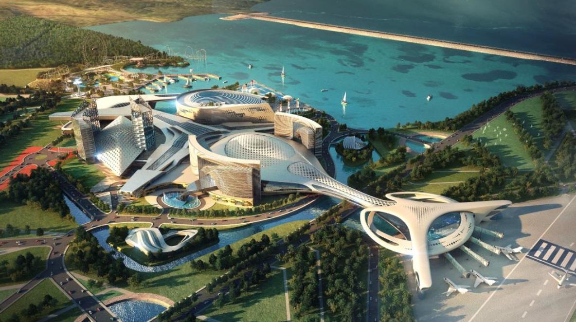 Incheon International Airport, the resort complex bird's-eye view