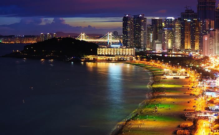 Haeundae Beach in Haeundae-gu, Busan