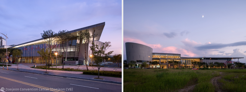 Daejeon Convention Center facade night view1, 2